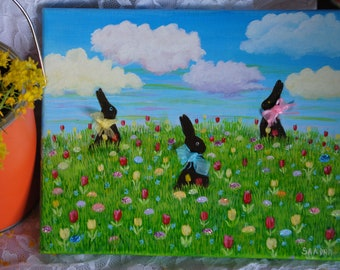 8x10 Acrylic Painting, Springtime Chocolate Bunnies and glittering eggs