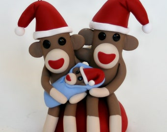 Sock Monkey Baby Frist Christmas Santa Family Tree Keepsake Ornament