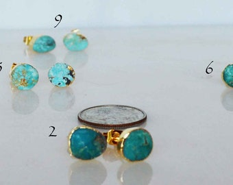 turquoise stud earrings with gold plated wrap and posts, blue turquoise stud earrings, gold turquoise stud earrings, gold turquoise studs