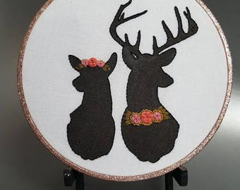 Deer with Floral Crowns embroidery hoop - stitching, cross stitch, bordado