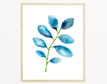 Blue Watercolor Plant Art Print. Blue Leaves Painting. Living Room Art. Watercolor Botanical Art. Yoga Studio Decor. Minimalist Nature Art.