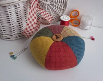 pincushion,patchwork pincushion,pincushions,patchwork pincushions,rustic pincushion,large pincushion,pin cushion,patchwork,deep pincushion,