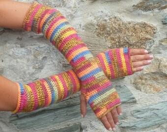 Fingerless gloves long crocheted multicolored - one size