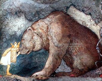 Princess Kisses a Bear Print - Fairy Tale Print - Girl and Mama Bear - Repro John Bauer
