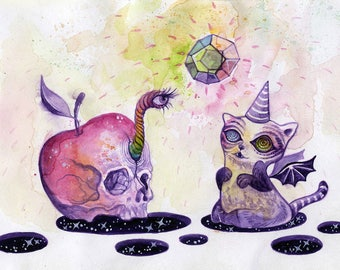 The Poison Apple and the Vampurrr Cat - ink drawing, cute scary, apple skull, vampire cat, catacorn, surreal art, trippy art, space art