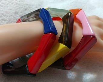 3 pc. Yellow,Orange,Red,Pink,Green,Blue, Lucite''Polygon''Stretch Bracelet