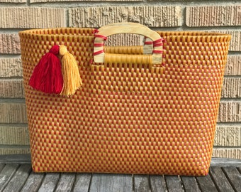 Mexican Tote, Market Bag, Recycled Plastic Tote
