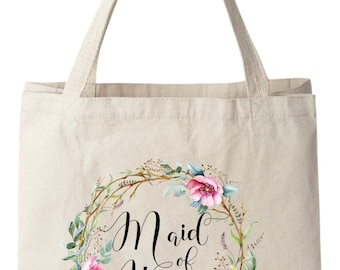 Tote Bags,Maid of Honor Tote Bags, Maid of Honor Bag, Wedding Tote Bag, Bridal Tote Bag, Wedding Bag, Floral Tote Bag, Canvas Tote Bag