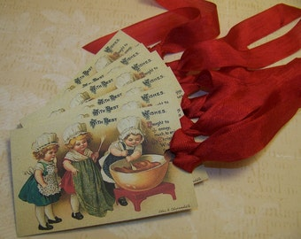 Christmas Baking Tags Baked Good Tags Holiday Baking Tag Handmade Vintage Style Set of 6 or 9