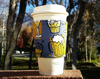 FREE SHIPPING UPGRADE with minimum -  Fabric coffee cozy / coffee cup holder / coffee sleeve / boyfriend gift / Got Beer?