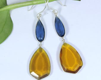 925 Sterling Silver Earring, Silver & London blue topaz Quartz or Citrine Quartz Silver Drop Earring LHE018