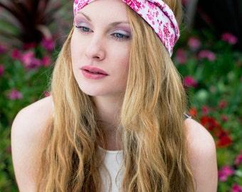 Pink Rose Wire Headband, Dolly Bow, Pin Up Rockabilly Hair Wrap, Bandana, Hair Scarf, Pretty Rose Headband, Pink Headband, Twist Hair Tie