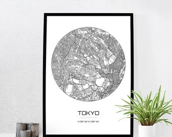 Tokyo Map Print - City Map Art of Tokyo Japan Poster - Coordinates Wall Art Gift - Travel Map - Office Home Decor