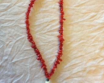 One of a Kind Hand Picked Costa Rican Shell and coral necklace/ Swarovski Crystal, Red Coral, and Shell Necklace Sterling Silver necklace