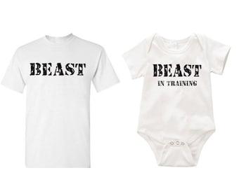 Beast and Beast in training combo Romper onesie creeper T-shirt