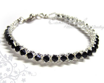crystal bracelet; Swarovski bracelet; Glass bracelet; Black and Silver Single Row Bracelet by CandyBead