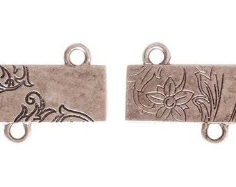 Floral Rectangle, SILVER Connector, 30x18x1mm, by Nunn Designs. NDFRCS