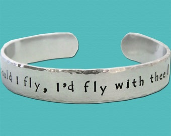 Aluminum Dog Agility Cuff Bracelet - Hand Stamped - Oh could I fly - Canine Agility Jewelry