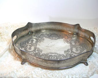 Large Silver Plated Footed Tray with Pierced Gallery