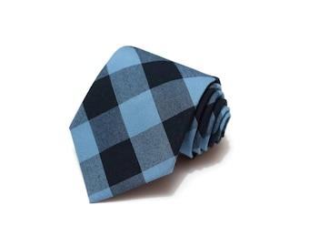 Buffalo Plaid Mens Necktie~Cotton Necktie~Navy and Indigo Necktie~Buffalo Check~Buffalo Check Tie~Blue Tie~Valentines Day Gift