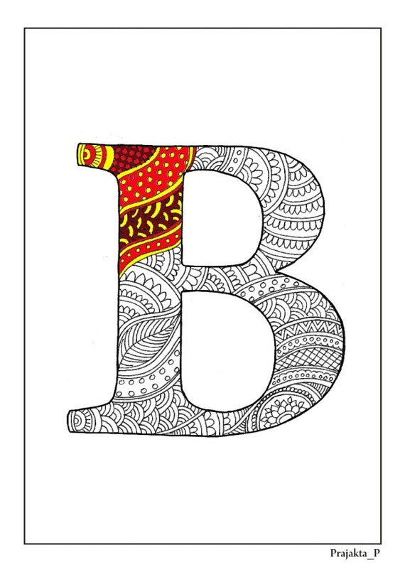 Zentangle Alphabet Coloring Pages Henna Doodle Alphabet