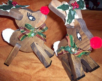wooden cute reindeer pair