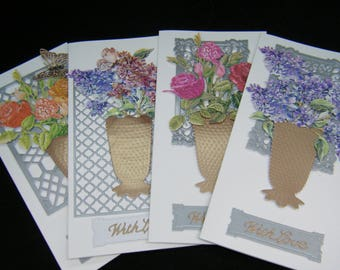 """Set of 4 """"Tattered Lace"""" general floral handmade 3D effect greetings cards"""