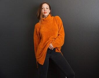 ARRIVISTE 90s Oversized Tangerine Turtleneck Sweater Size Medium