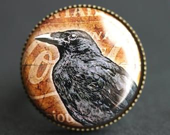 Raven Ring. Halloween Ring. Brown Ring. Graphic Button Ring. Black Bird Ring. Adjustable Ring. Bronze Ring. Handmade Ring.