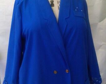 Vintage Size 22 1980s Lightweight Blue Blazer by Evans