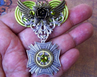SALE - Steampunk Medal (M400) - Brooch - Aviator Style Medal - Brass Stamping - Gears and Swarovski Crystals