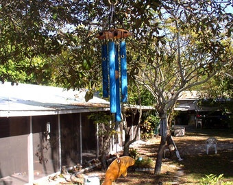 MANATEE Small Copper Wind Chime with Blue Patina