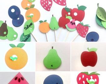 6 Hungry Caterpillar large food picks, 3d fruit, nursery decor, wall decor, classroom decor