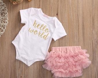 Hello world onesie & ruffle bloomer