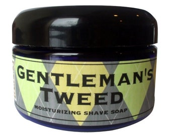 SHAVE Soap in a Jar - GENTLEMANS TWEED - Old Fashioned Shaving with Bentonite Clay and Shea Butter by Man Cave Soapworks