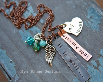 it is well with my soul - new mixed metal design with silver angel wing and trio of ocean colored drops