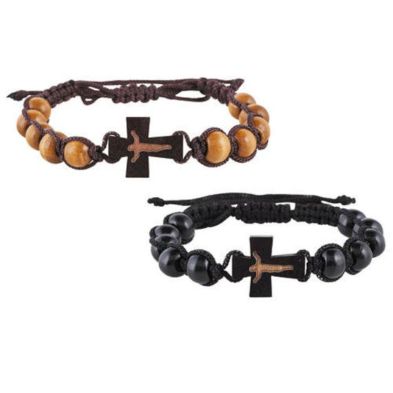Wooden Rosary Bracelet   Corded wood bead rosary bracelet with crucifix - Rosary Bracelet for Kids and Adults