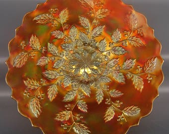 CARNIVAL GLASS - Fenton HOLLY Dark Marigold Bracket-Edge Plate