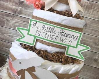 Spring Baby Shower Centerpiece, Bunny Baby Shower Diaper Cake, Spring Baby Shower Decorations