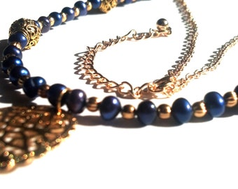 Blue and Gold Freshwater Pearl Necklace, Swarovski Heart Pendant