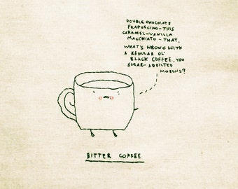 Bitter Coffee | Funny | Handmade | Handstitched | Eco friendly | Tote bag | Minimal tote bag | Gift | Coffee Lover| Artwork by Gemma Correll