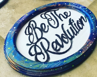 Be the Revolution - hand embroidered and painted Ursula K. Le Guin inspired wall hanging / hoop art
