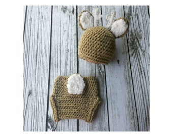 Baby Deer Set - Crochet Deer Hat and diaper cover - Baby animal hat - newborn photo prop - crochet baby outfit - character hat