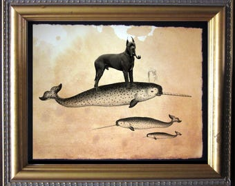 Great Dane Riding Narwhal - Vintage Collage Art Print on Tea Stained Paper -  dog art - dog gifts - mother's day gift