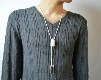 Bolo Tie Howlite Stone - Lariat Necklace