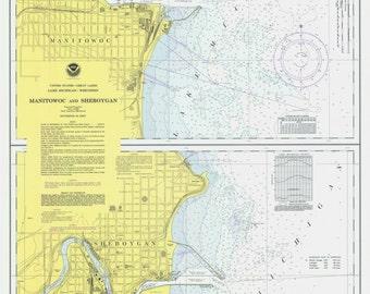 Manitowoc and Sheboygan - 1975 - Lake Michigan, Wisconsin - Nautical Map Reprint 10,000 scale - Great Lakes #7 - 735