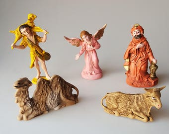Replacement Nativity figure small plastic resin made in Italy -- wise man,  shepherd boy, angel, camel, cow -- Your choice