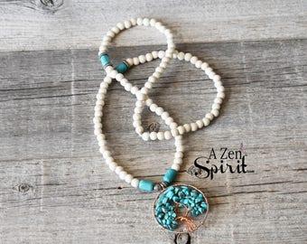 Turquoise Tree of Life, 108 Bead Mala,  Focus Jewelry, Meditation Jewelry