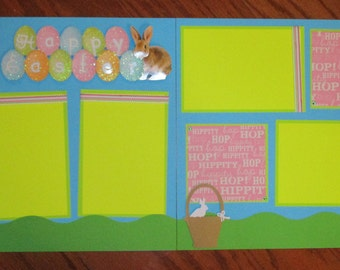 easter 12 x 12 premade scrapbook layout, double paged assembled Easter scrapbook layout, handmade 12 x 12 easter scrapbook layout