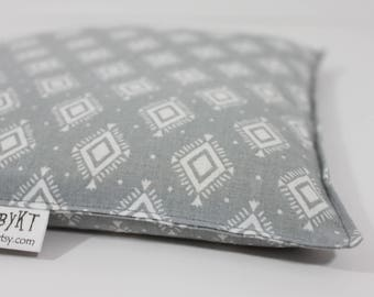 Large Square Rice Bag - 9 x 9 inches, hot or cold therapy pack, rice heating pad, foot warmer, gray and white geometric pattern
